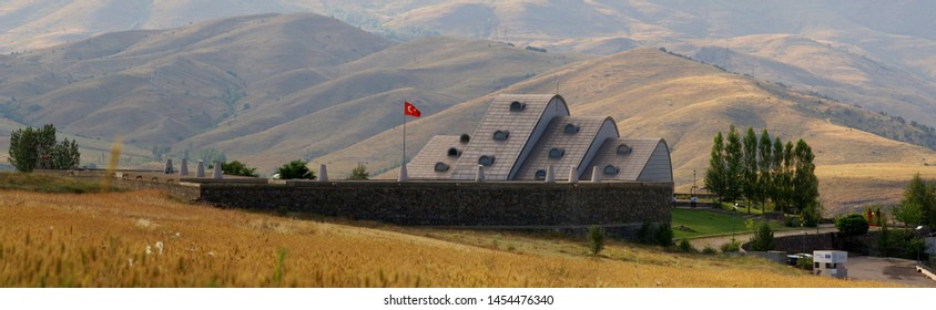 Bayburt, Turkey - July 19, 2018: Extraordinary Baksi Museum rising in Bayraktar village, where only 480 people living in 80 houses.