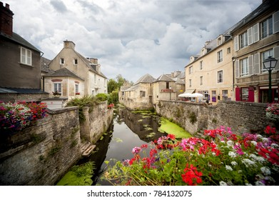 Bayeux, France - August 21, 2017: Scene of Bayeux with a waterway named the Aure.