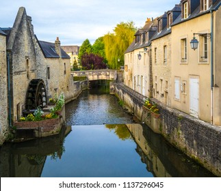 Bayeux / France - May 10, 2015: Bayeux River Bridge in old town Bayeux