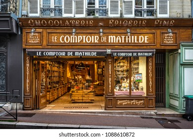 Bayeux, France - September 16 2017: Quaint, picturesque Chocolaterie or chocolate shop on Rue Saint-Martin, the main shopping street in the Normandy village of Bayeux France