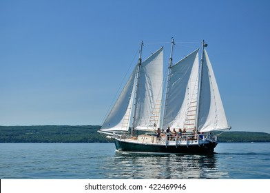 BAYFIELD, WI - July 7 2012: Schooner Sailboat Sailing on a Beautiful Summer Day
