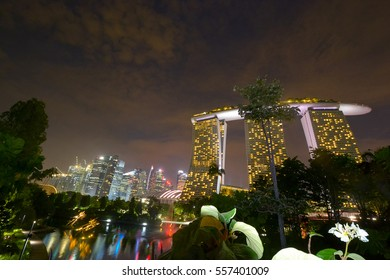 BAYFRONT AVENUE, SINGAPORE - OCTOBER 27: Marina Bay Sands Resort On October 27, 2016 In Bayfront, Singapore. Marina Bay Sands Resort Is Billed As The Worlds Most Expensive Standalone Casino Property