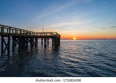 Bayfront Park pier at sunset