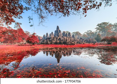 Bayon Castle, Cambodia. With red leaf tree