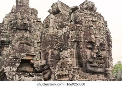 Bayon Castle or Prasat Bayon Khmer temple at Angkor in siem reap Cambodia.