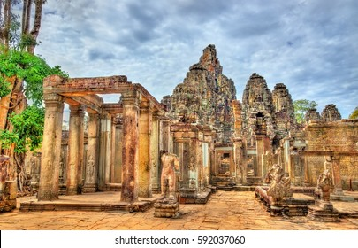 The Bayon, a Khmer temple at the Angkor complex in Cambodia, Southeast Asia