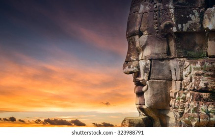 bayon stone faces of the people ,siem reap ,Cambodia, was inscribed on the UNESCO World Heritage List in 1992.