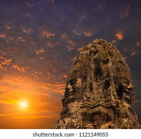 Bayon Stone Faces and Sunset, siem reap, Cambodia