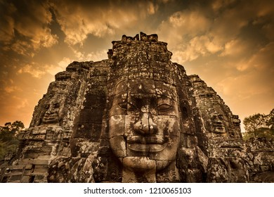 Bayon temple in ambodia at sunset