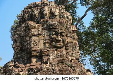 Bayon Temple at Angkor Thom, Angkor, Cambodia. Faces of Bayon tample. Ankor wat.