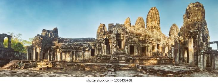Bayon temple in Angkor Thom at morning time. Siem Reap. Cambodia. Panorama