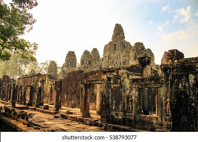 The Bayon is a well-known and richly decorated Khmer temple at Angkor in Cambodia.