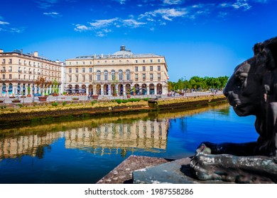 bayonne city center under clear blue sky - Shutterstock ID 1987558286