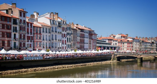 BAYONNE, FRANCE - AUGUST 2: Cityscape of Bayonne during the Summer festival (Fetes de Bayonne), on August 2, 2015 in Bayonne