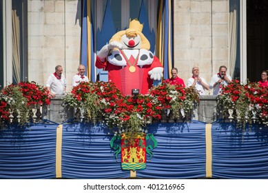 BAYONNE, FRANCE - AUGUST 2: King Leon puppet at the Summer festival (Fetes de Bayonne), on August 2? 2015 in Bayonne