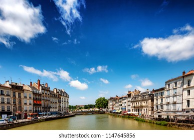 BAYONNE, FRANCE - JUL 11: Riverside scene at Bayonne, France on a sunny day on July 11, 2018. The southern French city is located in the Basque region.