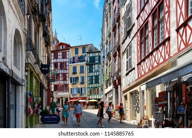 BAYONNE, FRANCE - JUL 11: Scene at Bayonne, France on a sunny day on July 11, 2018. The southern French city is located in the Basque region.