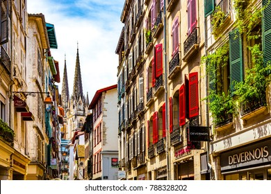 BAYONNE, FRANCE - JUNE 8, 2017: The narrow medieval streets form an important attraction to the town.