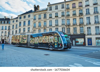 Bayonne, France - March 14, 2020; Electric bus circulating on the street of Bayonne.