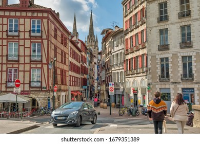 Bayonne, France - March 14, 2020; Views of cathedral and old facades of the city of Bayonne.