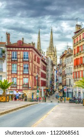 BAYONNE, FRANCE, MAY 16, 2017: Cityscape of Bayonne dominated by the cathedral of Saint Mary, France