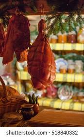 Bayonne hams hanging, Jambon, Porc Ham