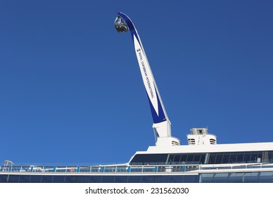 """BAYONNE, NEW JERSEY - NOVEMBER 18: The """"NorthStar"""" observation tower at the  newest Royal Caribbean Cruise Ship Quantum of the Seas docked at Cape Liberty Cruise Port on November 18, 2014."""