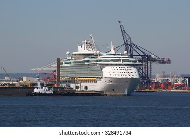 BAYONNE, NEW JERSEY - SEPTEMBER 24, 2015: Royal Caribbean Cruise Ship Liberty of the Seas docked at Cape Liberty Cruise Port