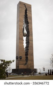 BAYONNE, NJ-SEP 10 2015: Tear Drop Memorial, a 40ft reflective monument from President Vladimir Putin inscribed To The Struggle Against World Terrorism, created by Russian artist Zurab Tsereteli.
