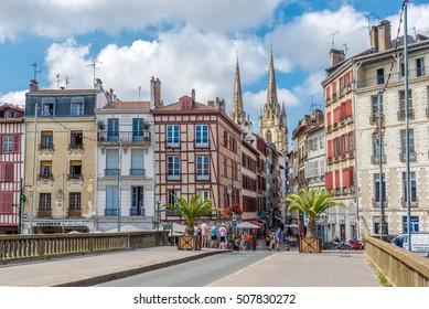 BAYONNE,FRANCE - AUGUST 31,2016 - In the streets of Bayonne. Bayonne is located at the confluence of the Nive and Adour rivers in the northern part of the cultural region of Basque Country.