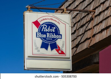 BAYPORT, MN/USA - OCTOBER 21, 2016: Pabst Blue Ribbon beer sign and logo. The Pabst Brewing Company is an American brewer of alcohol and beer.
