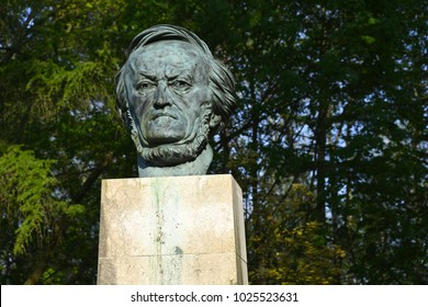 Bayreuth, Bavaria / Germany - May 01, 2012: Statue of the german composer Richard Wagner near the Bayreuth Festival Theatre on the Green Hill in Bavaria - Bayreuth, Germany