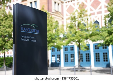 Bayreuth, Bavaria / Germany - May 20, 2018: Sign with the logo of Festival Theatre Bayreuth in front of the Opera House in Bayreuth, Germany