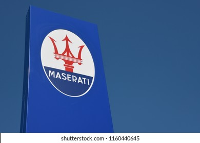 Bayreuth, Bavaria / Germany - May 21, 2018: Maserati logo on a blue sign - Maserati is an Italian sports car manufacturer based in Modena