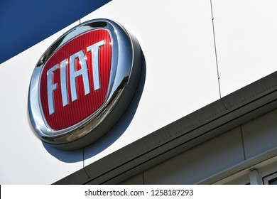 Bayreuth, Bavaria / Germany - May 21, 2018: Logo and signage of local FIAT dealership in Bayreuth, Germany - Fiat is an italian automobile manufacturer and part of FCA