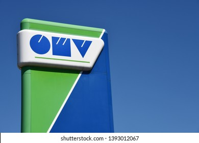 Bayreuth, Bavaria /  Germany - May 21, 2018: OMV Sign at a gas station in Bayreuth, Germany - OMV is an Austrian integrated oil and gas company based in Vienna, Austria
