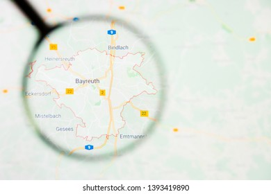 Bayreuth city in Germany, Bavaria visualization illustrative concept on display screen through magnifying glass