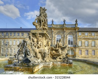 Bayreuth - Fountain and New Palace (Neues Schloss), seat of the margraves from 1753. Bayreuth is famous for its annual festival for operas of Richard Wagner.