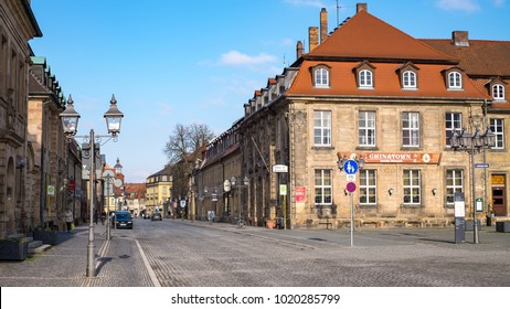 BAYREUTH, GERMANY - 05.02.2018 : Bavarian Town Bayreuth, Downtown Bayreuth (old town)-Friedrichstrasse