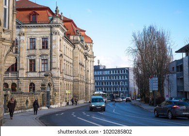 BAYREUTH, GERMANY - 05.02.2018 : Bavarian Town Bayreuth, Downtown Bayreuth -Wilhelminnenstrasse