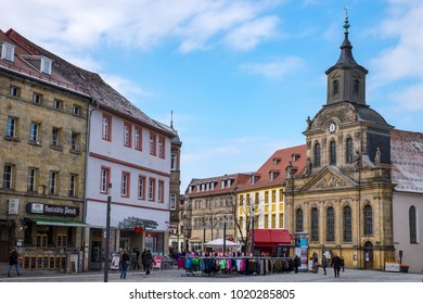 BAYREUTH, GERMANY - 05.02.2018 : Bavarian Town Bayreuth, Downtown Bayreuth (old town)-Protestant church