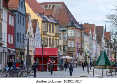 BAYREUTH, GERMANY - 05.02.2018 : Bavarian Town Bayreuth, Downtown Bayreuth (old town)-Maximilianstrasse