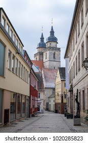 BAYREUTH, GERMANY - 05.02.2018 : Bavarian Town Bayreuth, Downtown Bayreuth (old town)-City Church of the Holy Trinity