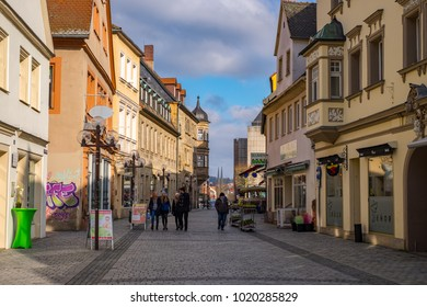 BAYREUTH, GERMANY - 05.02.2018 : Bavarian Town Bayreuth, Downtown Bayreuth (old town)-Sophienstrasse