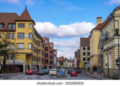 BAYREUTH, GERMANY - 05.02.2018 : Bavarian Town Bayreuth, Downtown Bayreuth -Wittelsbacherring