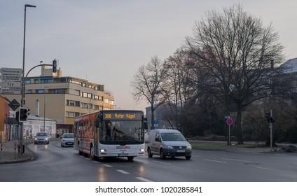 BAYREUTH, GERMANY - 07.02.2018 : Bavarian Town Bayreuth, Downtown Bayreuth-Hohenzollernring