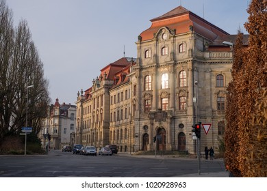 BAYREUTH, GERMANY - 07.02.2018 : Bavarian Town Bayreuth, Downtown Bayreuth - Amtsgericht