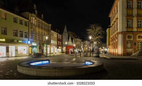 BAYREUTH, GERMANY - 12.02.2018 : Bavarian Town Bayreuth, Downtown Bayreuth (old town) at night-Maximilianstrasse