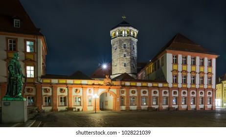 BAYREUTH, GERMANY - 12.02.2018 : Bavarian Town Bayreuth, Downtown Bayreuth (old town)-Old Castle of Bayreuth at night