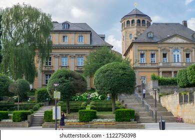 BAYREUTH, GERMANY - 22.06.2018 : Bavarian Town Bayreuth, Downtown Bayreuth (old town)-Church
